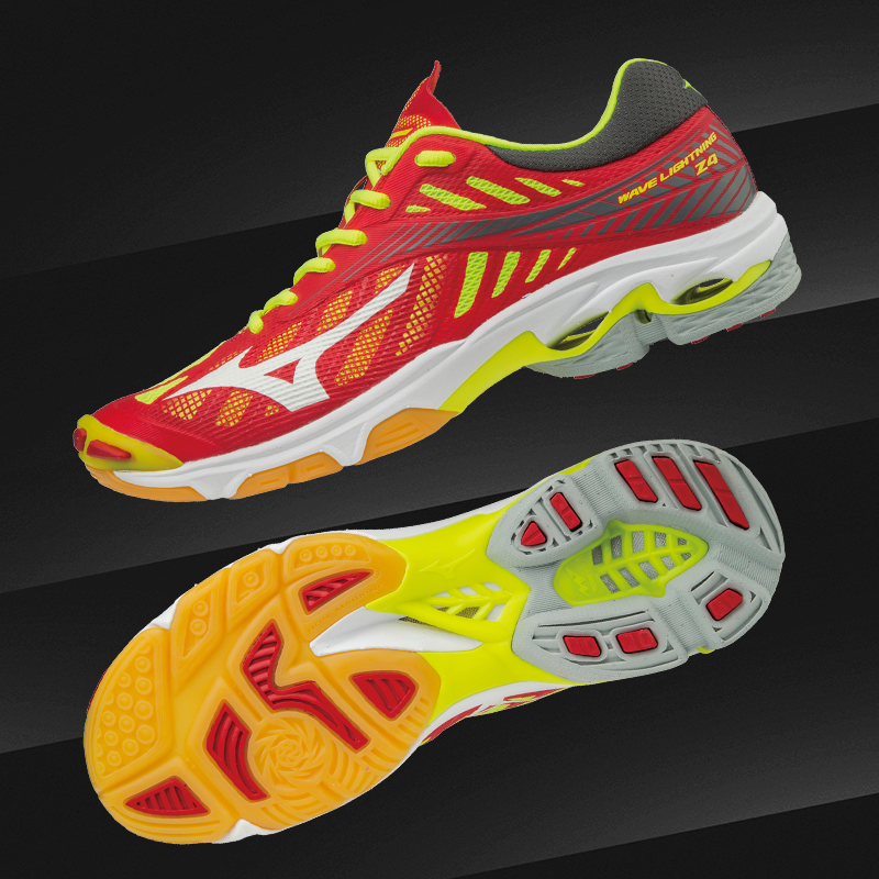 Mizuno WAVE LIGHTNING Z4 - Volleyball shoes - mars red/white/safety yellow vP1t5lUpAj